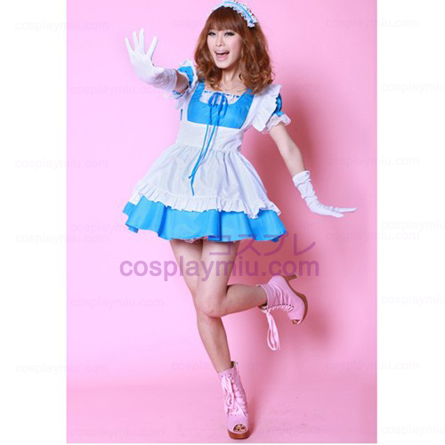 White Apron and Blue Skirt Maid Déguisements Hot Sale