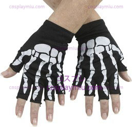 Bone Fingerless Gloves White