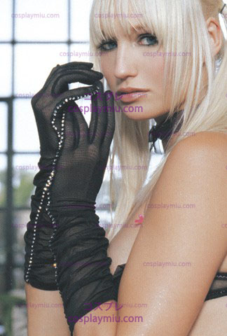 Gloves Rhinestone Trim Black