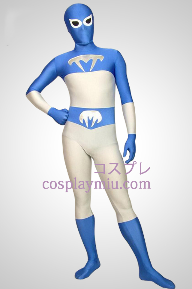Blanc et bleu Lycra Full Body Superhero Zentai Suit