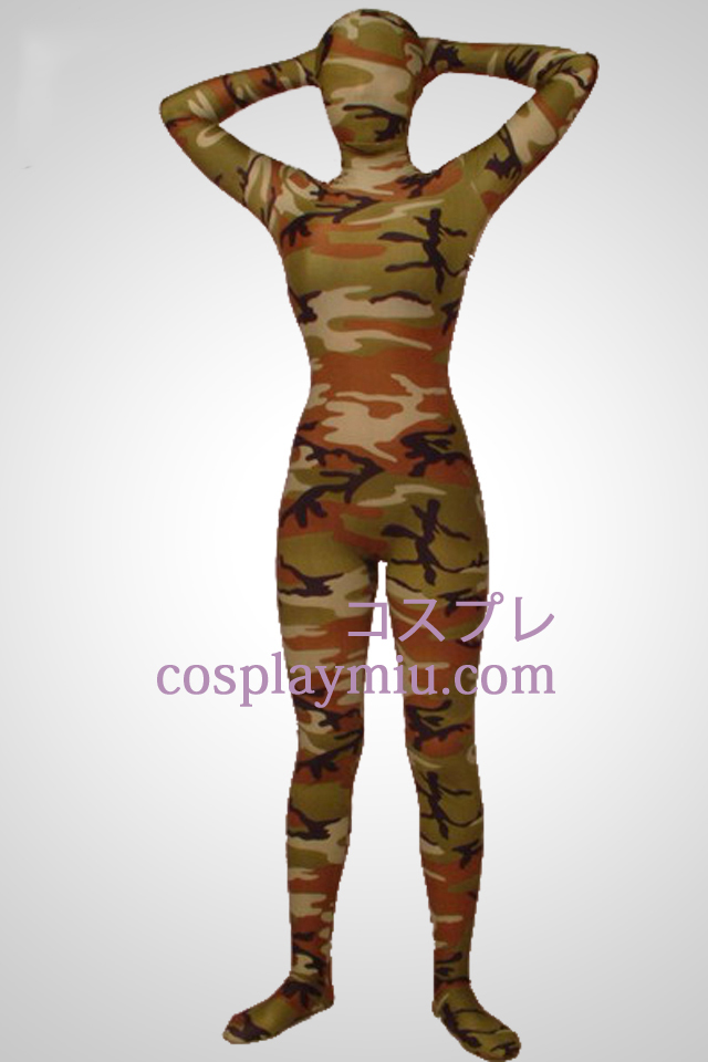 Army Green Camouflage Lycra Zentai complet corps costume