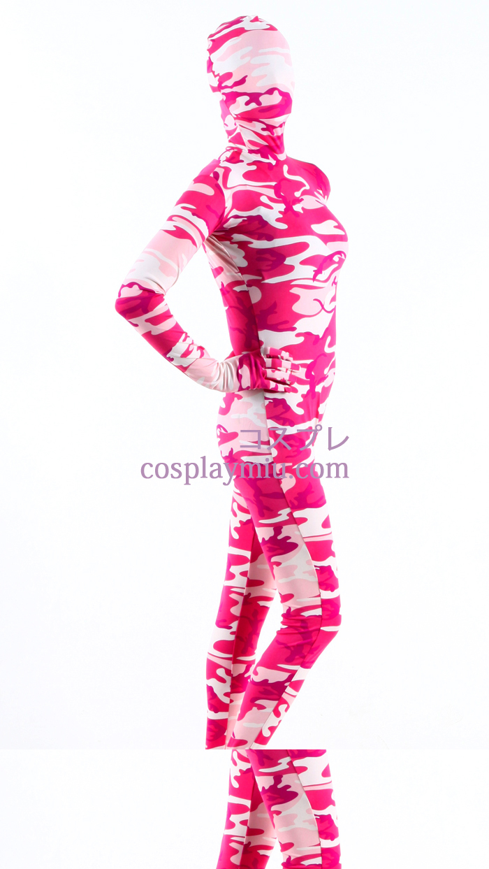 Camouflage rose Lycra Zentai Suit