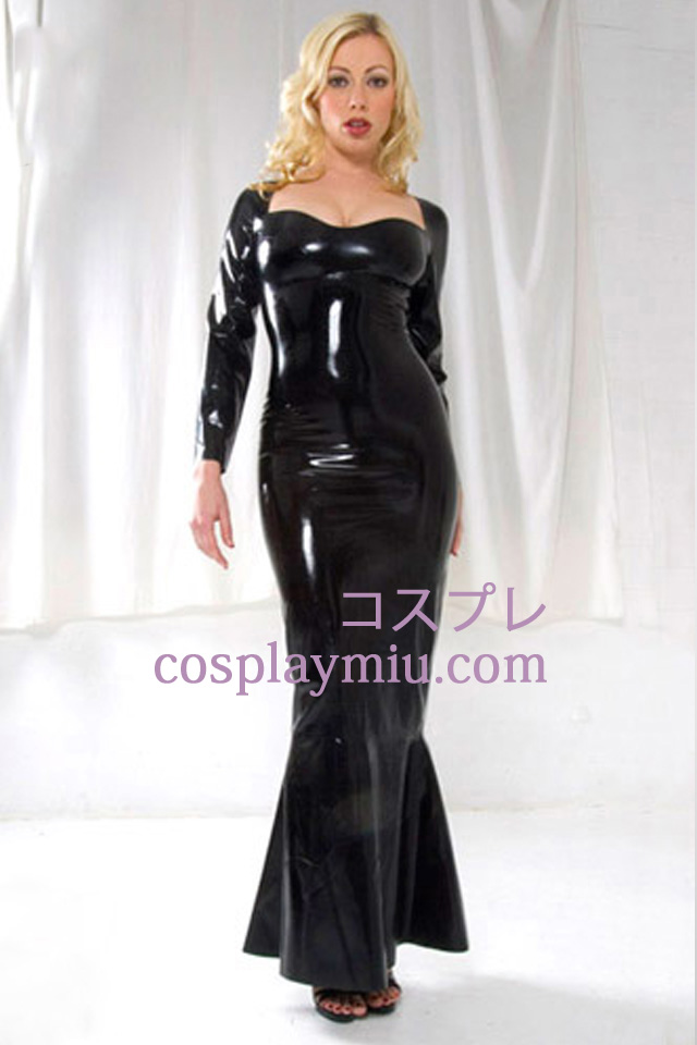 Noir à Manches Longues Robe Sexy Latex