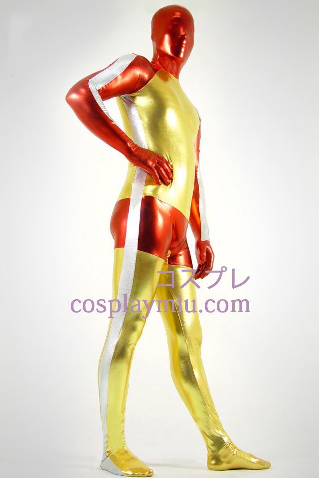 Métallique brillant d'or rouge et blanc Zentai Suit