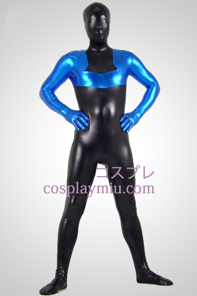 Black And Blue métallique brillant Zentai Suit