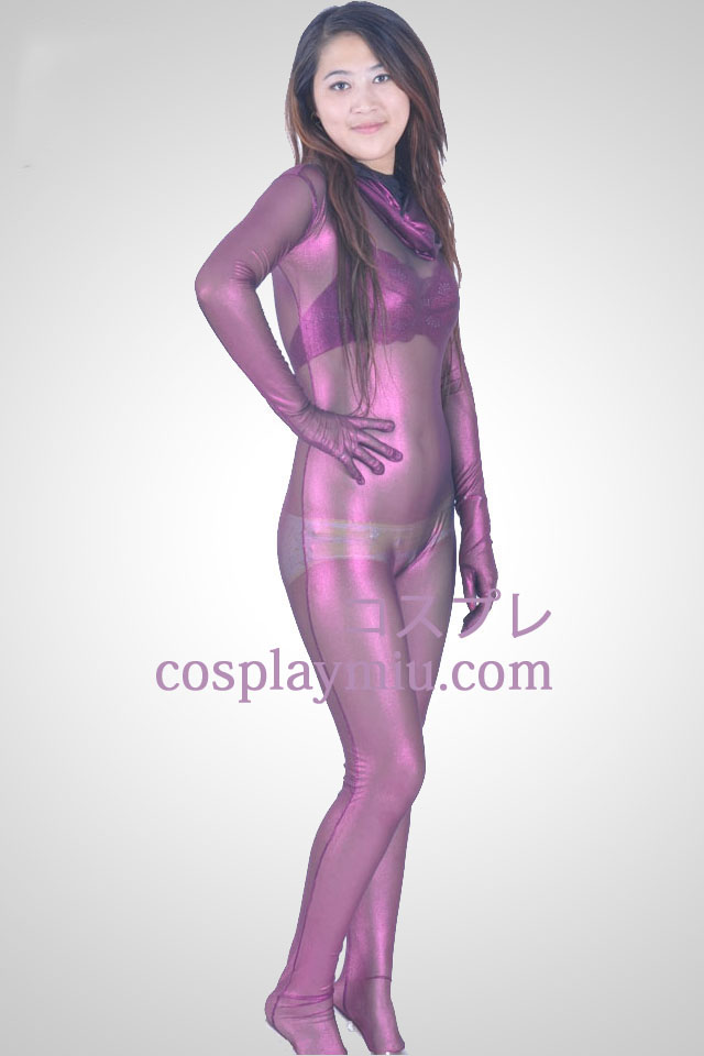 Purple Velvet semi-transparent Suit Zentai