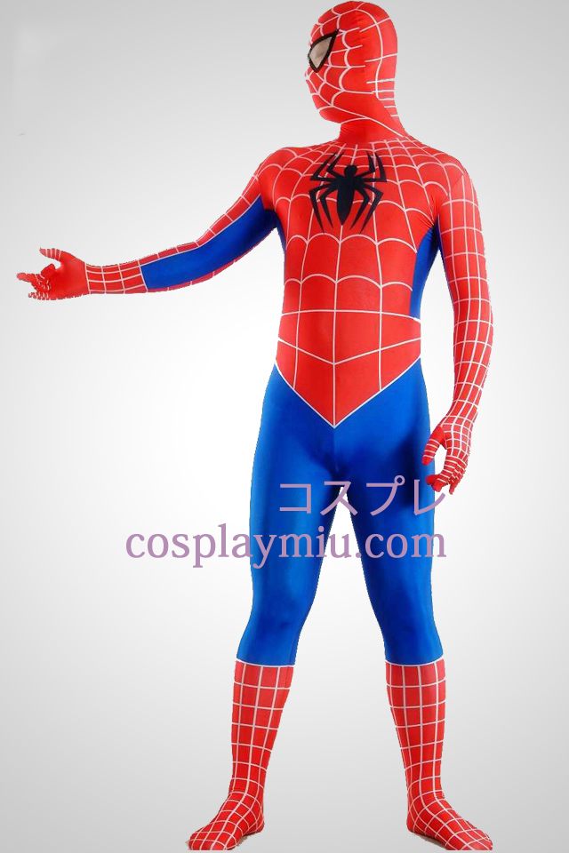 Red Blue Stripes Lycra Spandex Zentai Spiderman Superhero