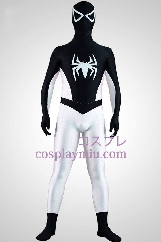 Demi costume blanc noir Demi de super héros Spiderman Zentai