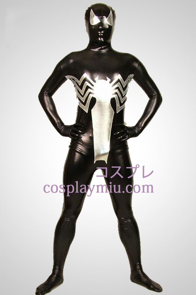 Big Black Spiderman Full Body métallique brillant Zentai Suit