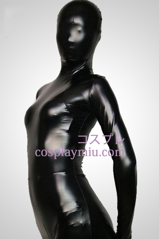 Black Full Body métallique brillant Zentai Suit