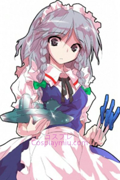 Touhou Project Izayoi Sakuya Light Purple court avec longue perruque de Cosplay Braid